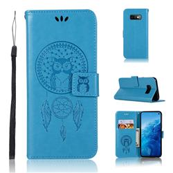 Intricate Embossing Owl Campanula Leather Wallet Case for Samsung Galaxy S10e(5.8 inch) - Blue