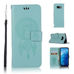 Intricate Embossing Owl Campanula Leather Wallet Case for Samsung Galaxy S10e(5.8 inch) - Green