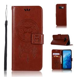 Intricate Embossing Owl Campanula Leather Wallet Case for Samsung Galaxy S10e(5.8 inch) - Brown