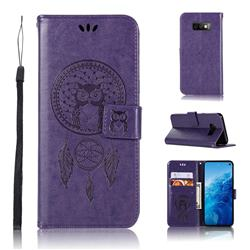 Intricate Embossing Owl Campanula Leather Wallet Case for Samsung Galaxy S10e(5.8 inch) - Purple
