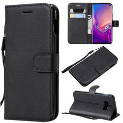 Retro Greek Classic Smooth PU Leather Wallet Phone Case for Samsung Galaxy S10e(5.8 inch) - Black