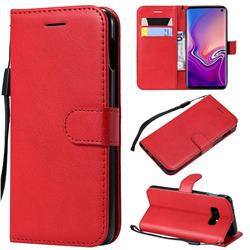 Retro Greek Classic Smooth PU Leather Wallet Phone Case for Samsung Galaxy S10e(5.8 inch) - Red