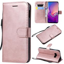 Retro Greek Classic Smooth PU Leather Wallet Phone Case for Samsung Galaxy S10e(5.8 inch) - Rose Gold