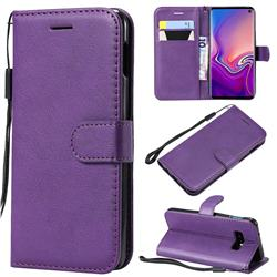 Retro Greek Classic Smooth PU Leather Wallet Phone Case for Samsung Galaxy S10e(5.8 inch) - Purple