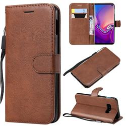 Retro Greek Classic Smooth PU Leather Wallet Phone Case for Samsung Galaxy S10e(5.8 inch) - Brown