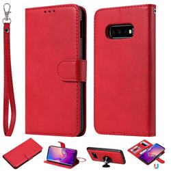 Retro Greek Detachable Magnetic PU Leather Wallet Phone Case for Samsung Galaxy S10 Lite(5.8 inch) - Red