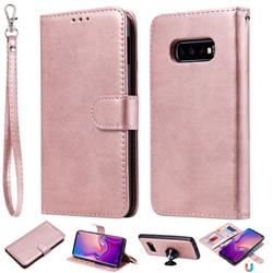 Retro Greek Detachable Magnetic PU Leather Wallet Phone Case for Samsung Galaxy S10 Lite(5.8 inch) - Rose Gold