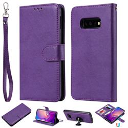 Retro Greek Detachable Magnetic PU Leather Wallet Phone Case for Samsung Galaxy S10e(5.8 inch) - Purple