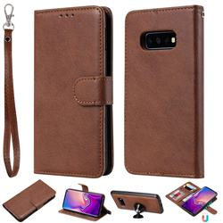 Retro Greek Detachable Magnetic PU Leather Wallet Phone Case for Samsung Galaxy S10e(5.8 inch) - Brown