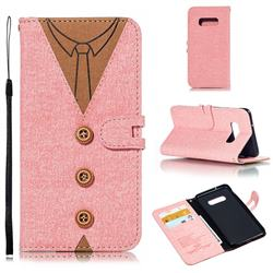 Mens Button Clothing Style Leather Wallet Phone Case for Samsung Galaxy S10e(5.8 inch) - Pink