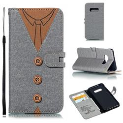 Mens Button Clothing Style Leather Wallet Phone Case for Samsung Galaxy S10e(5.8 inch) - Gray