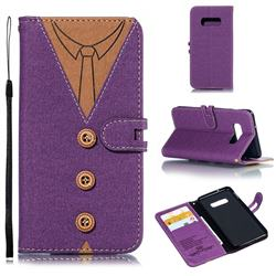 Mens Button Clothing Style Leather Wallet Phone Case for Samsung Galaxy S10e(5.8 inch) - Purple