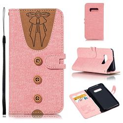 Ladies Bow Clothes Pattern Leather Wallet Phone Case for Samsung Galaxy S10 Lite(5.8 inch) - Pink
