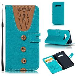 Ladies Bow Clothes Pattern Leather Wallet Phone Case for Samsung Galaxy S10 Lite(5.8 inch) - Green