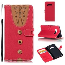 Ladies Bow Clothes Pattern Leather Wallet Phone Case for Samsung Galaxy S10e(5.8 inch) - Red