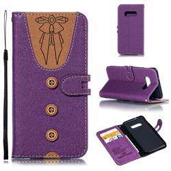 Ladies Bow Clothes Pattern Leather Wallet Phone Case for Samsung Galaxy S10e(5.8 inch) - Purple