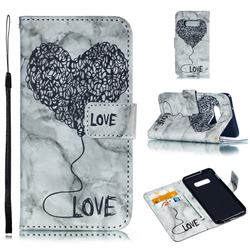 Marble Heart PU Leather Wallet Phone Case for Samsung Galaxy S10 Lite(5.8 inch) - Black