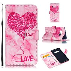 Marble Heart PU Leather Wallet Phone Case for Samsung Galaxy S10e(5.8 inch) - Red
