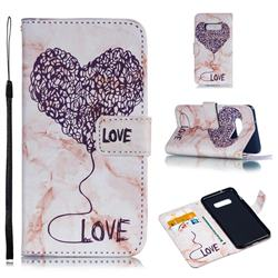 Marble Heart PU Leather Wallet Phone Case for Samsung Galaxy S10 Lite(5.8 inch) - Purple