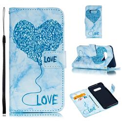 Marble Heart PU Leather Wallet Phone Case for Samsung Galaxy S10e(5.8 inch) - Blue