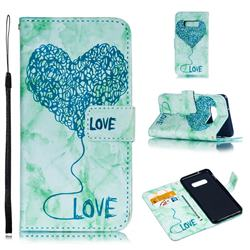 Marble Heart PU Leather Wallet Phone Case for Samsung Galaxy S10 Lite(5.8 inch) - Green