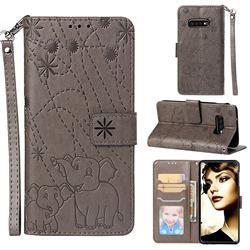 Embossing Fireworks Elephant Leather Wallet Case for Samsung Galaxy S10e(5.8 inch) - Gray