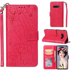 Embossing Fireworks Elephant Leather Wallet Case for Samsung Galaxy S10e(5.8 inch) - Red
