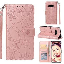 Embossing Fireworks Elephant Leather Wallet Case for Samsung Galaxy S10e(5.8 inch) - Rose Gold