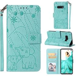 Embossing Fireworks Elephant Leather Wallet Case for Samsung Galaxy S10e(5.8 inch) - Green