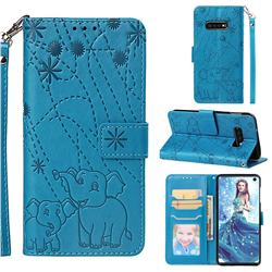 Embossing Fireworks Elephant Leather Wallet Case for Samsung Galaxy S10e(5.8 inch) - Blue