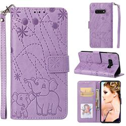 Embossing Fireworks Elephant Leather Wallet Case for Samsung Galaxy S10e(5.8 inch) - Purple