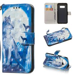 Ice Wolf 3D Painted Leather Wallet Phone Case for Samsung Galaxy S10e(5.8 inch)