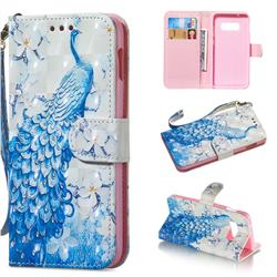 Blue Peacock 3D Painted Leather Wallet Phone Case for Samsung Galaxy S10e(5.8 inch)