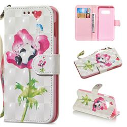 Flower Panda 3D Painted Leather Wallet Phone Case for Samsung Galaxy S10e(5.8 inch)