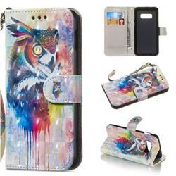 Watercolor Owl 3D Painted Leather Wallet Phone Case for Samsung Galaxy S10e(5.8 inch)