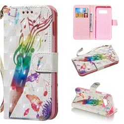 Music Pen 3D Painted Leather Wallet Phone Case for Samsung Galaxy S10e(5.8 inch)