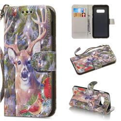 Elk Deer 3D Painted Leather Wallet Phone Case for Samsung Galaxy S10e(5.8 inch)