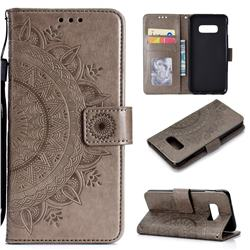 Intricate Embossing Datura Leather Wallet Case for Samsung Galaxy S10e (5.8 inch) - Gray