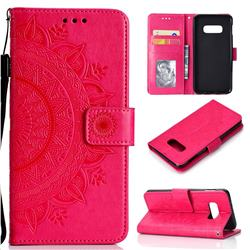 Intricate Embossing Datura Leather Wallet Case for Samsung Galaxy S10e (5.8 inch) - Rose Red