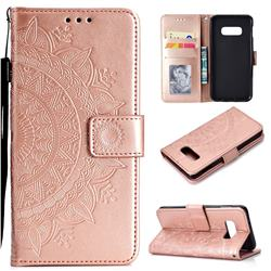 Intricate Embossing Datura Leather Wallet Case for Samsung Galaxy S10e (5.8 inch) - Rose Gold