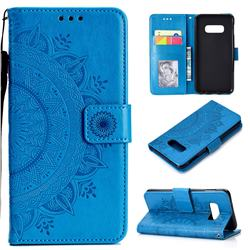 Intricate Embossing Datura Leather Wallet Case for Samsung Galaxy S10e (5.8 inch) - Blue