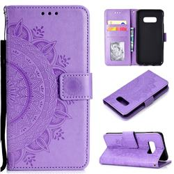 Intricate Embossing Datura Leather Wallet Case for Samsung Galaxy S10e (5.8 inch) - Purple