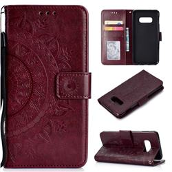 Intricate Embossing Datura Leather Wallet Case for Samsung Galaxy S10e (5.8 inch) - Brown