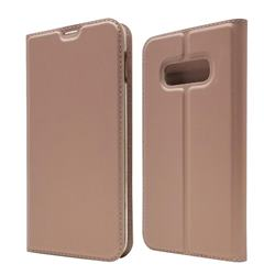 Ultra Slim Card Magnetic Automatic Suction Leather Wallet Case for Samsung Galaxy S10e (5.8 inch) - Rose Gold