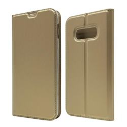 Ultra Slim Card Magnetic Automatic Suction Leather Wallet Case for Samsung Galaxy S10e (5.8 inch) - Champagne