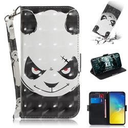 Angry Bear 3D Painted Leather Wallet Phone Case for Samsung Galaxy S10e (5.8 inch)