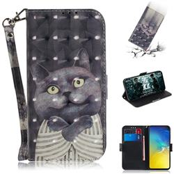 Cat Embrace 3D Painted Leather Wallet Phone Case for Samsung Galaxy S10e (5.8 inch)