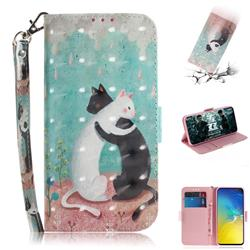 Black and White Cat 3D Painted Leather Wallet Phone Case for Samsung Galaxy S10e (5.8 inch)