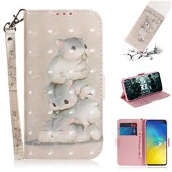 Three Squirrels 3D Painted Leather Wallet Phone Case for Samsung Galaxy S10e (5.8 inch)