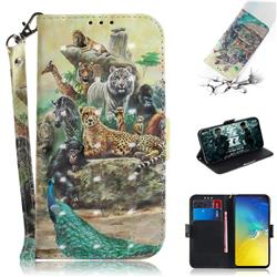 Beast Zoo 3D Painted Leather Wallet Phone Case for Samsung Galaxy S10e (5.8 inch)